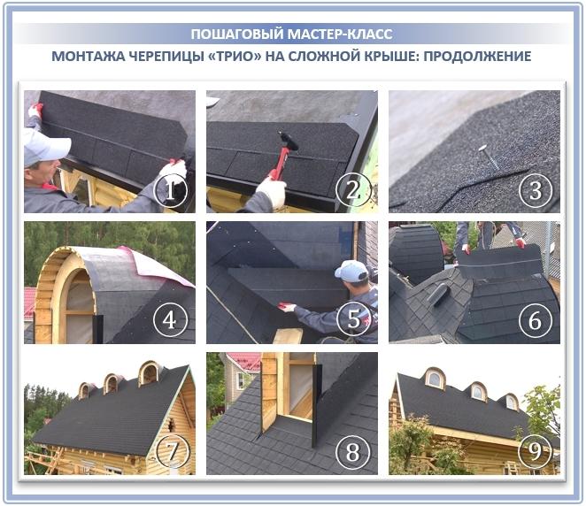 Процесс монтажа на сложной крыше: фото