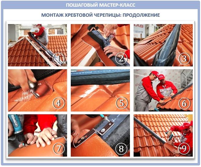 Монтаж хребтовой черепицы на вальмы крыши