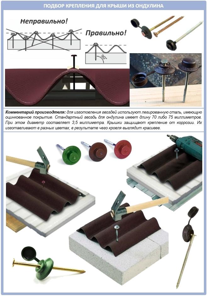 Выбор крепления для крыши из ондулина
