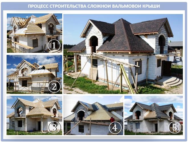 Процесс строительства крестообразной вальмовой крыши
