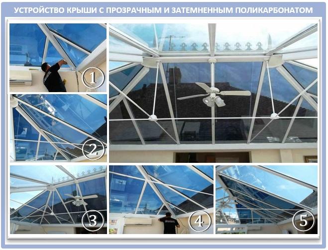 Крыша веранды из затемненного монолитного поликарбоната
