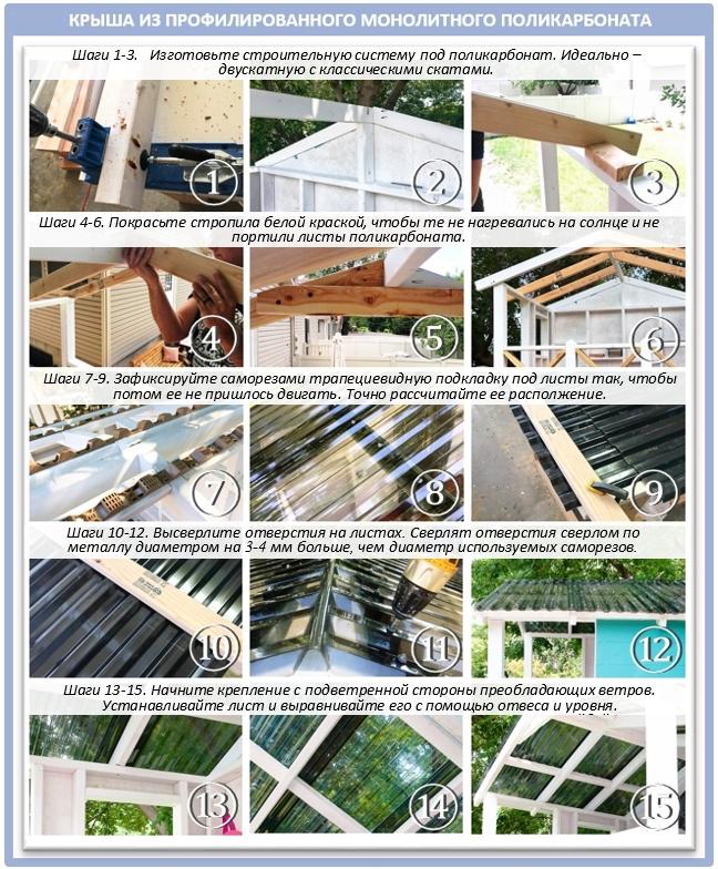 Монтаж поликарбоната на крышу беседки: шаг за шагом