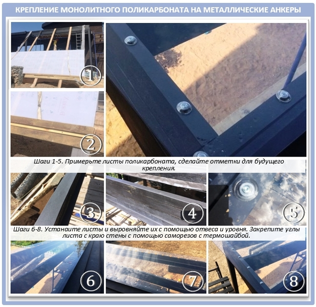 Как крепить монолитный поликарбонат на крышу