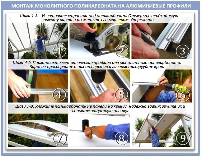 Монтаж монолитного поликарбоната на алюминиевые профили