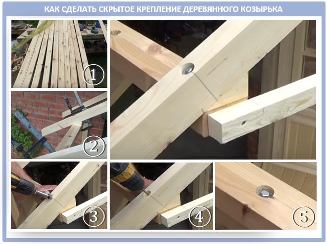 Как самому сделать деревянный козырек под прозрачное покрытие