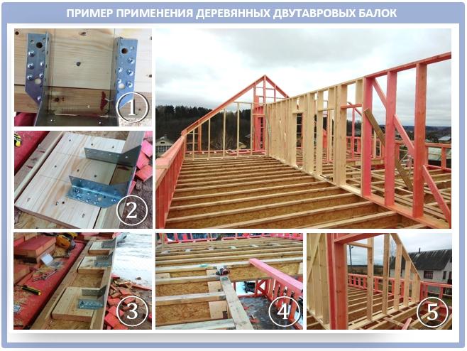 Крыша из двутавровых деревянных балок