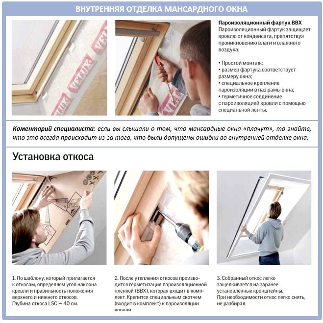 Пароизоляция мансардного окна изнутри помещения