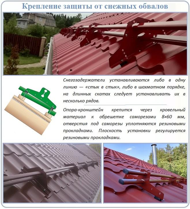 Правила установки снегозадержателей на крышу из металлопрофиля