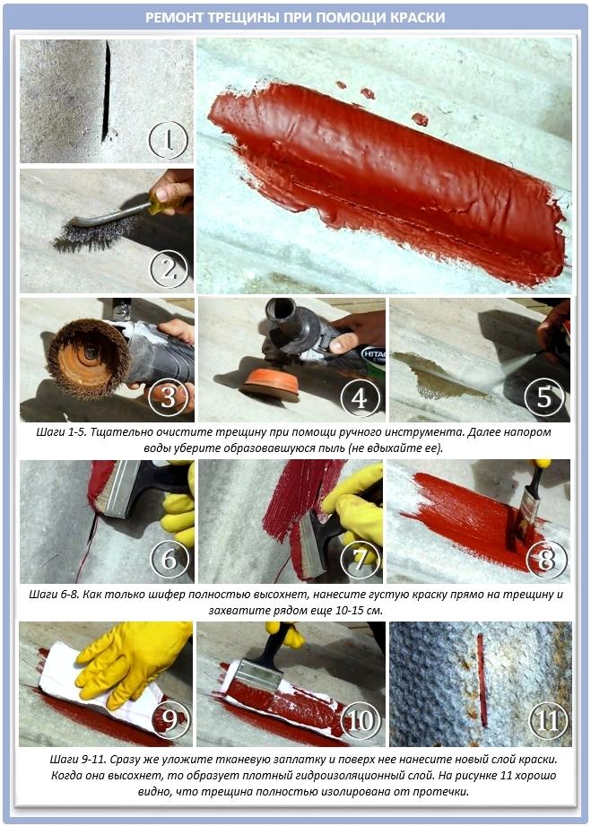Как отремонтировать шифер при помощи краски?