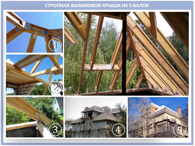 Строительство вальмовой крыши из Т-балок