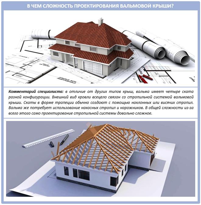 Сложности проектирование вальмовой четырехскатной крыши