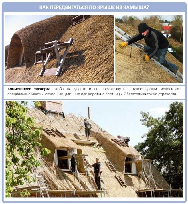 Как можно передвигаться по камышовой крыше в процессе строительства?