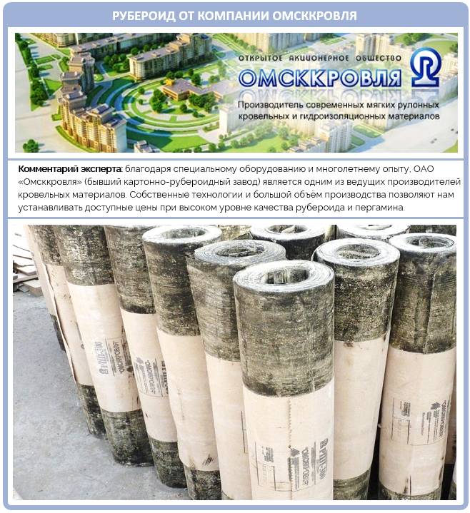 Качество рубероида от компании Омсккровля