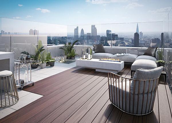 Прекрасный вид с террасы на крыше