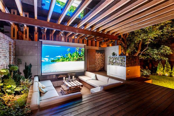 Складной проекционный экран для кинотеатра на террасе