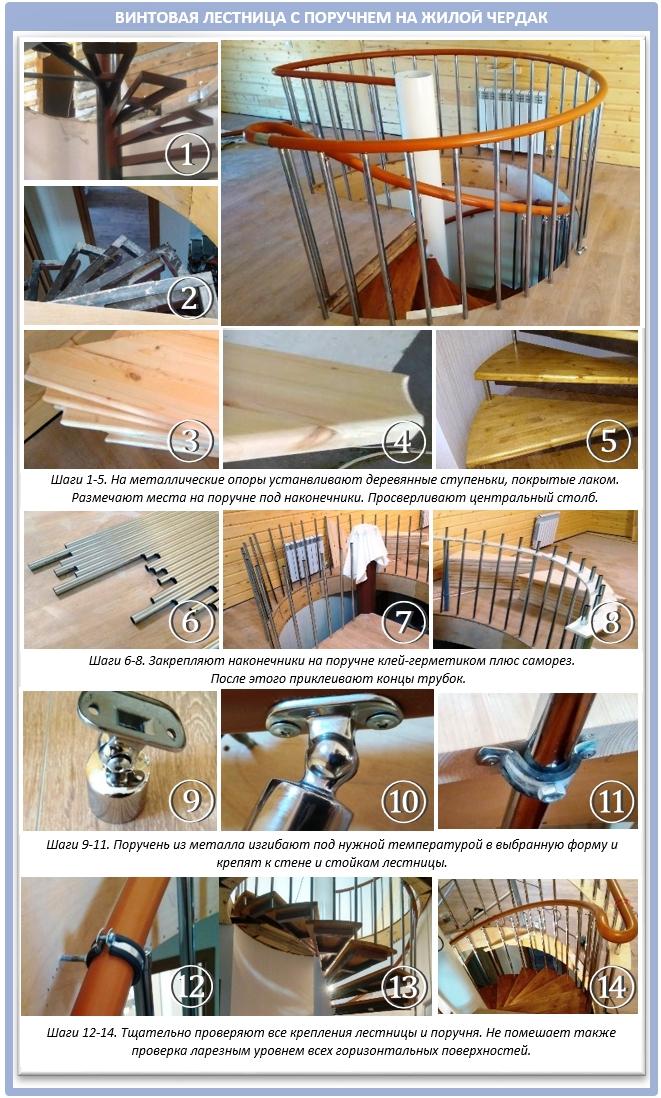 Винтовые лестницы с поручнями для мансарды