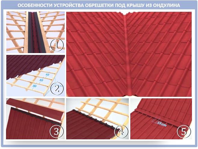 Монтаж обрешетки под ендову на крыши Ондувилла