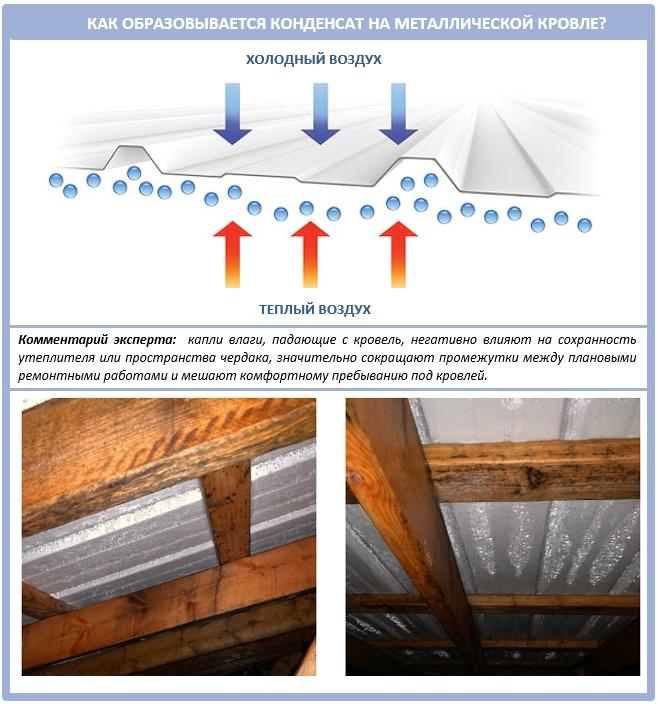 Как образовывается конденсат на крыше