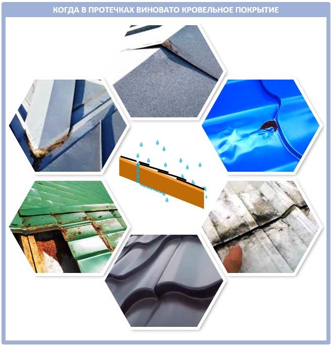 Причины протечек крыши из профнастила и металлочерепицы