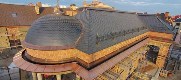 Крыша из луженой медной черепиы