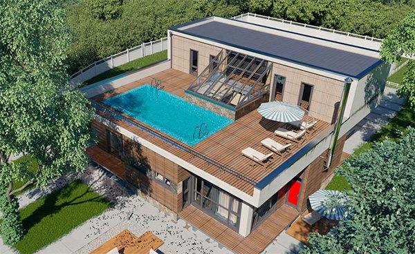 Плоская крыша частного дома