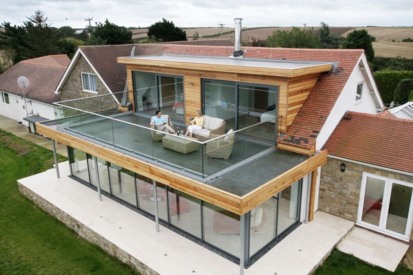 Терраса на крыше пристройки