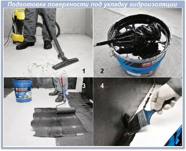 Подготовка поверхности под укладку гидроизоляции