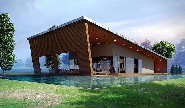 Односкатный дом с крышей-навесом