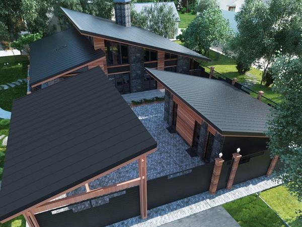 Комплекс домов с односкатной крышей