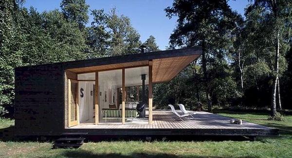 Простой дом с односкатной крышей