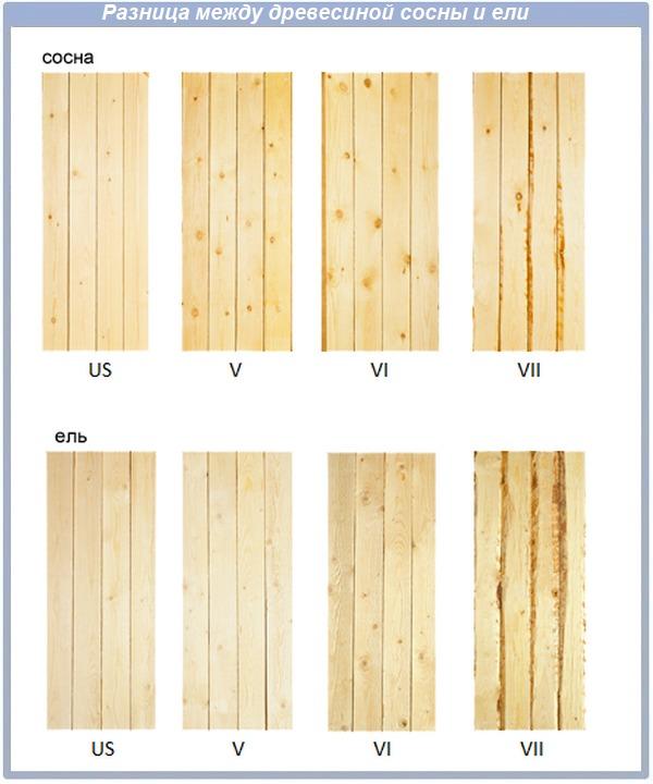 Разница между сосновой и еловой древесиной