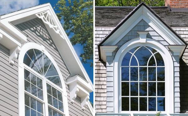 Арочные окна украшают фронтоны домов