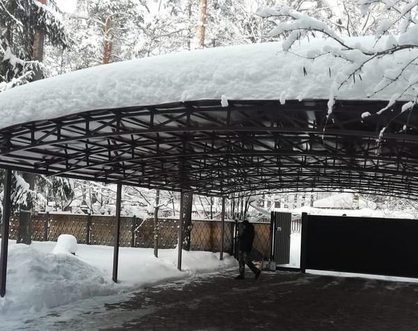 Снеговая шапка на пологом навесе