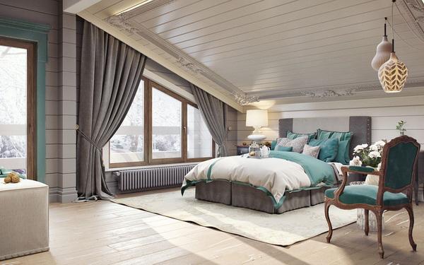 Большая спальня на мансарде