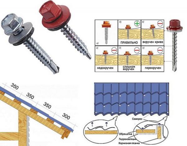 Технология крепления металлочерепицы к обрешетке